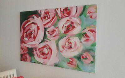Schilderij rozen in opdracht gemaakt